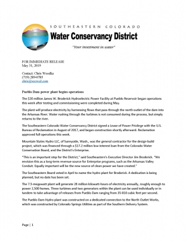 Hydroelectric Power | Southeastern Colorado Water